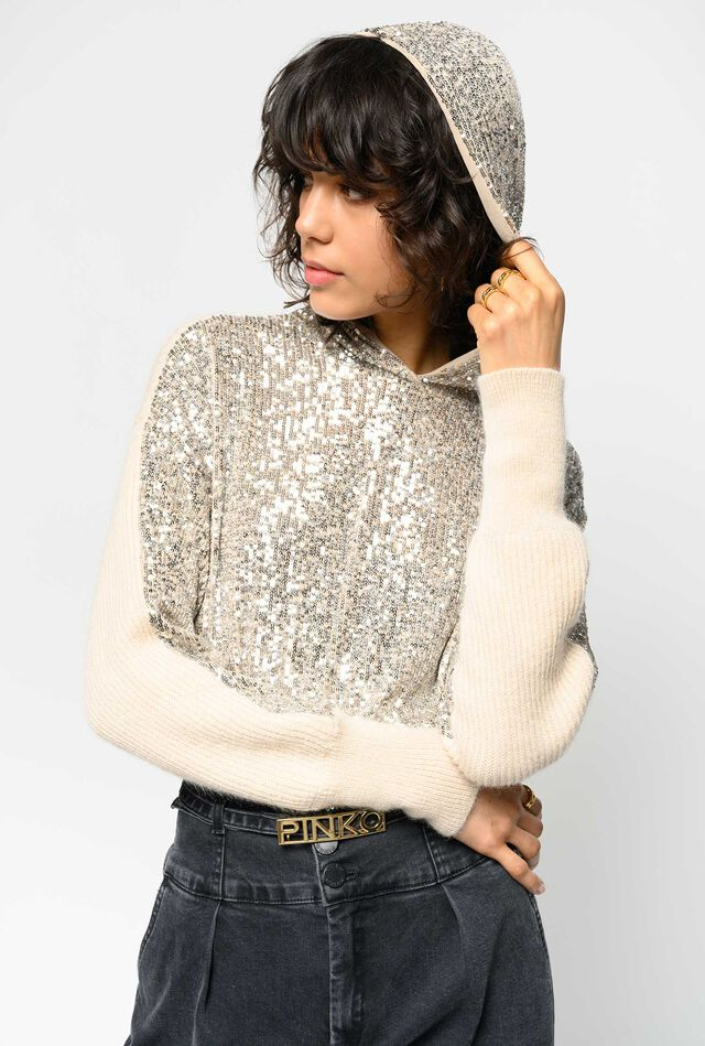 Long sequin embroidered pullover
