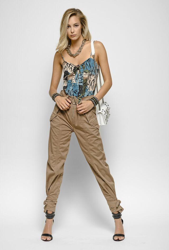 Pantaloni stile cargo in cotone