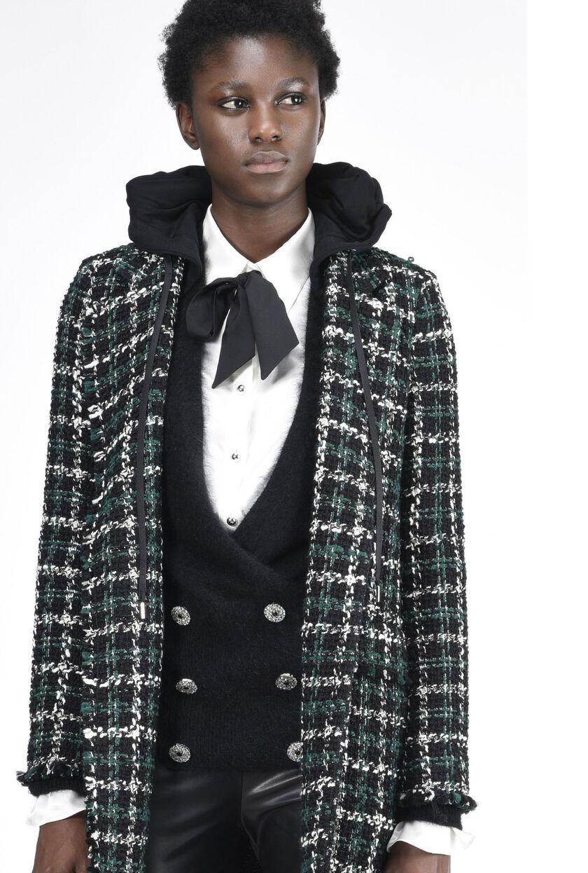Abrigo de tweed y paño con capucha