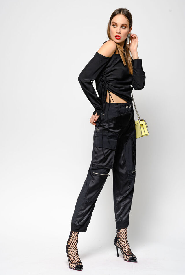 Pantaloni cargo in twill marocaine