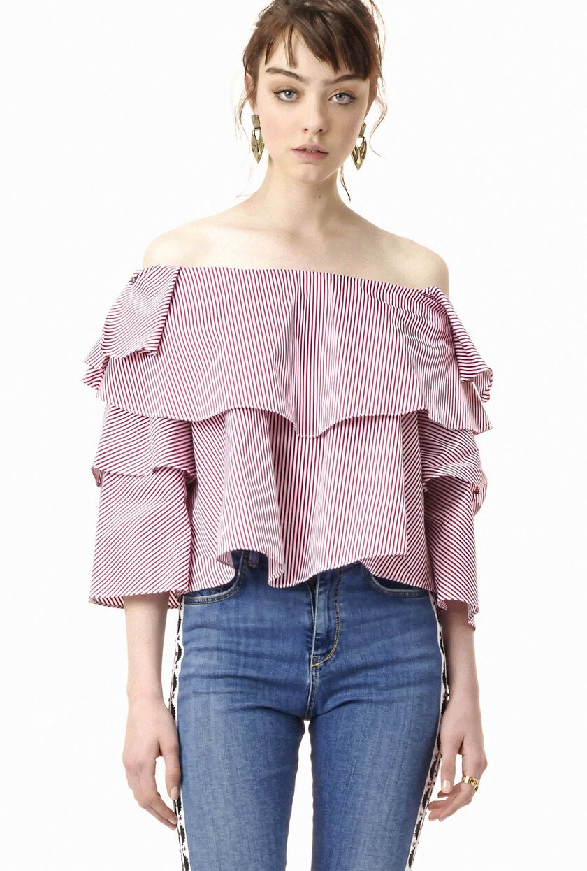Stripe print poplin blouse