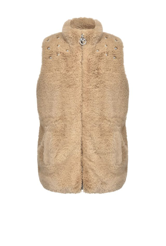 Fur effect waistcoat with studs