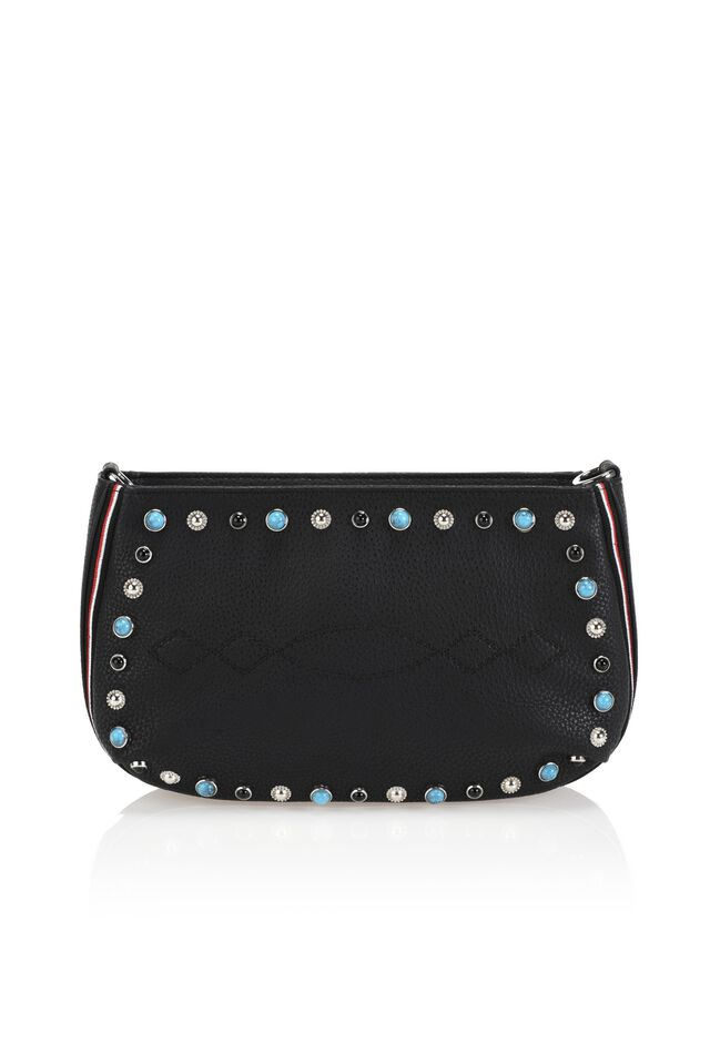 Faux leather clutch with studs