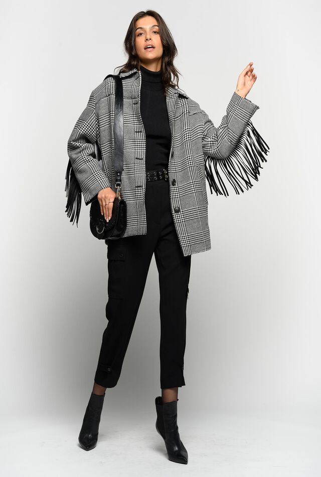 Pea coat with fringe