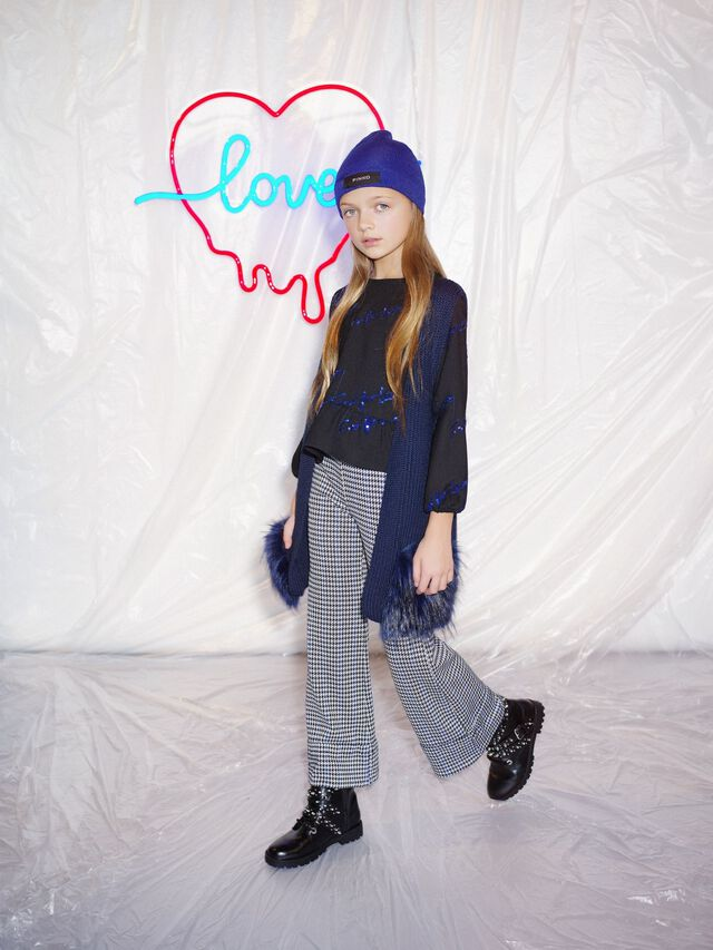 Flared houndstooth trousers