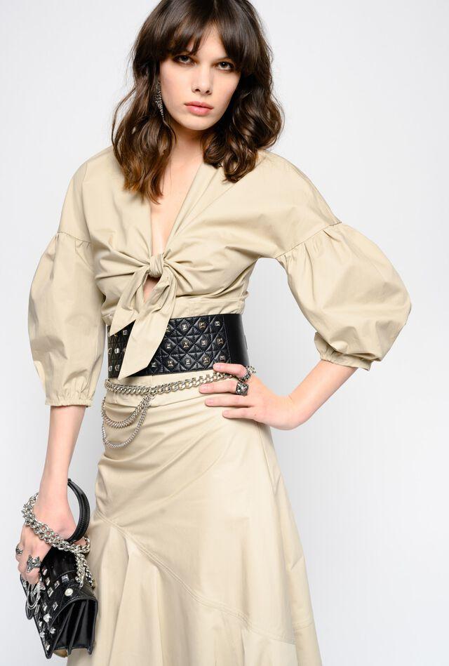 Blusa in popeline di cotone con fiocco