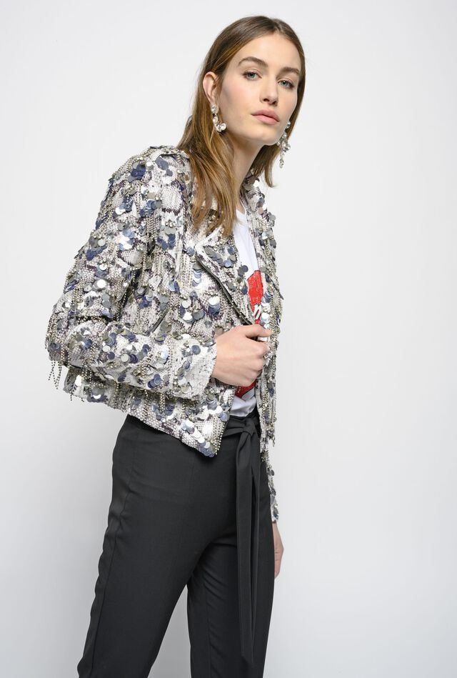 Biker jacket with snakeskin print and sequins, bezels and rhinestones