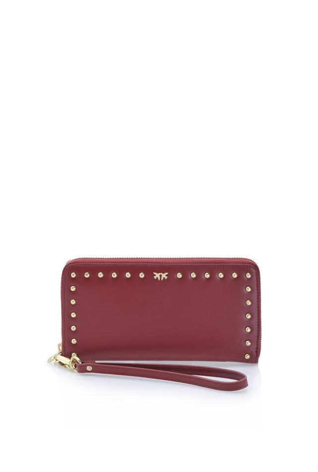 Leather zip-around wallet with wristlet