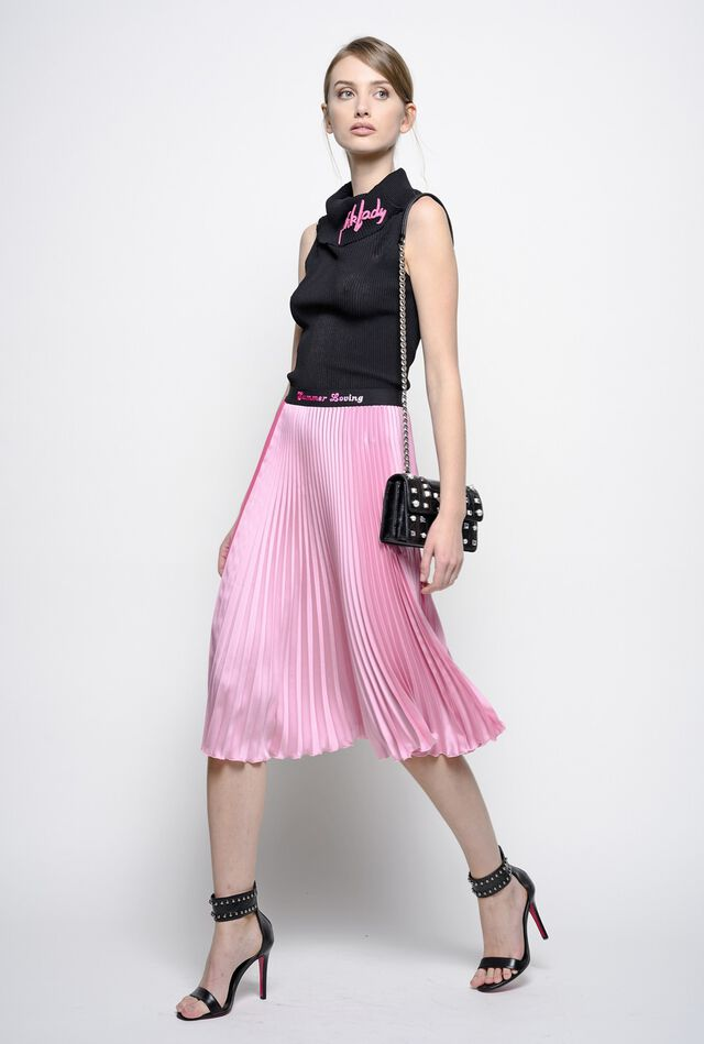 Pleated two-tone satin skirt