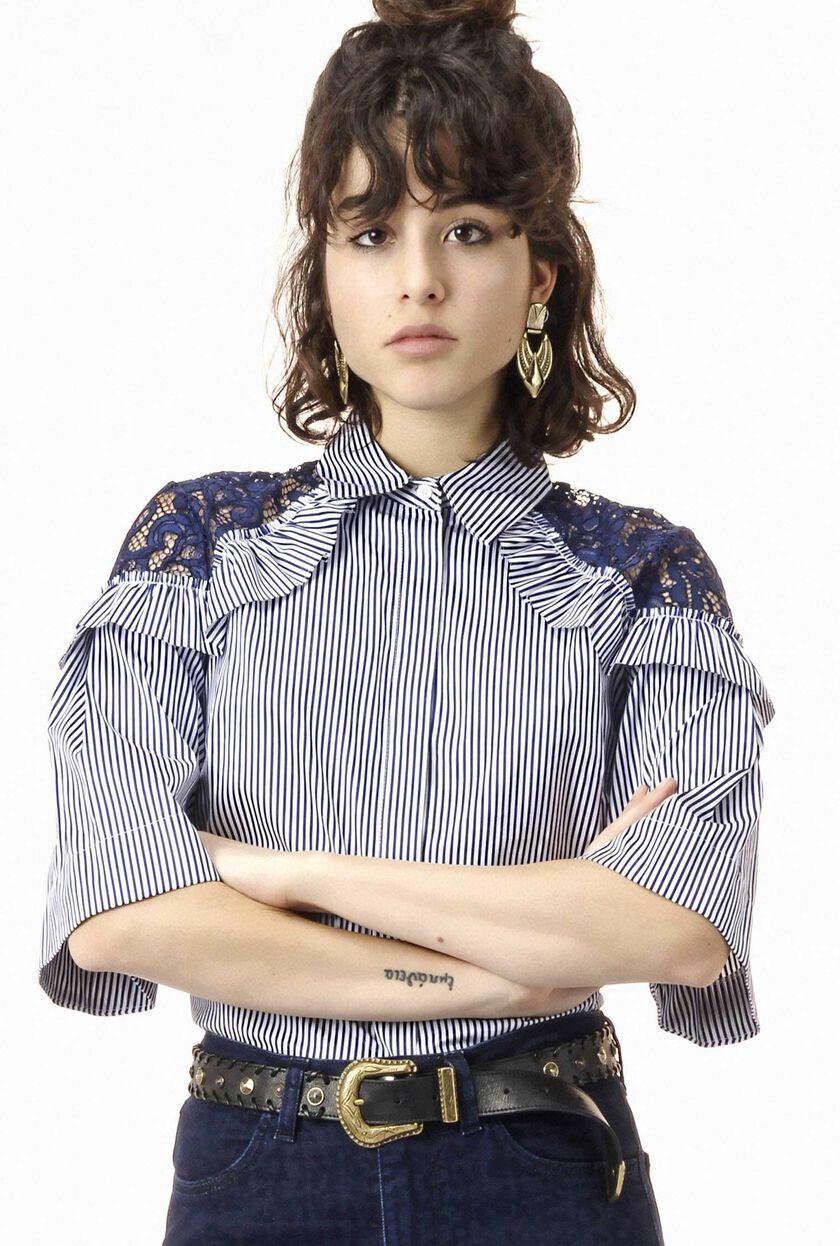 Stripe pattern cotton poplin shirt