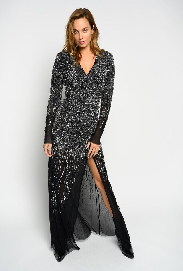 Wave-effect dress with all-over sequins