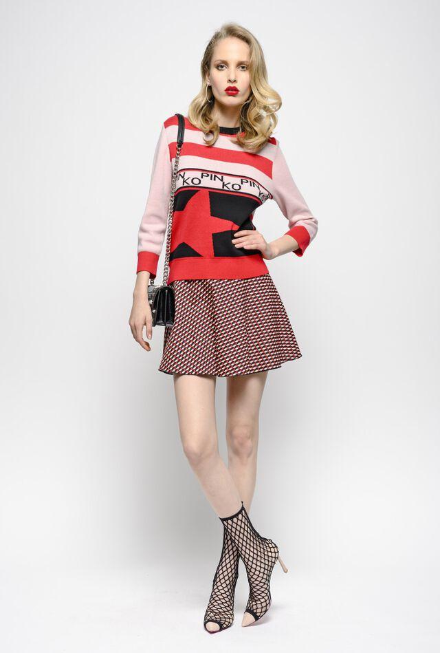 Milano stitch micro geometric pattern jacquard mini skirt