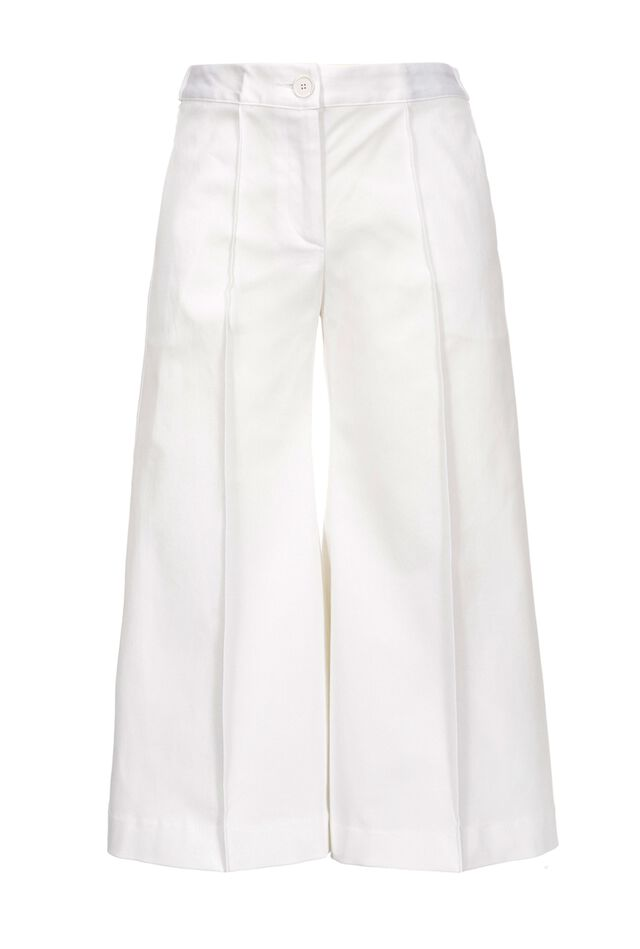 Pantaloni ampi in gabardina stretch
