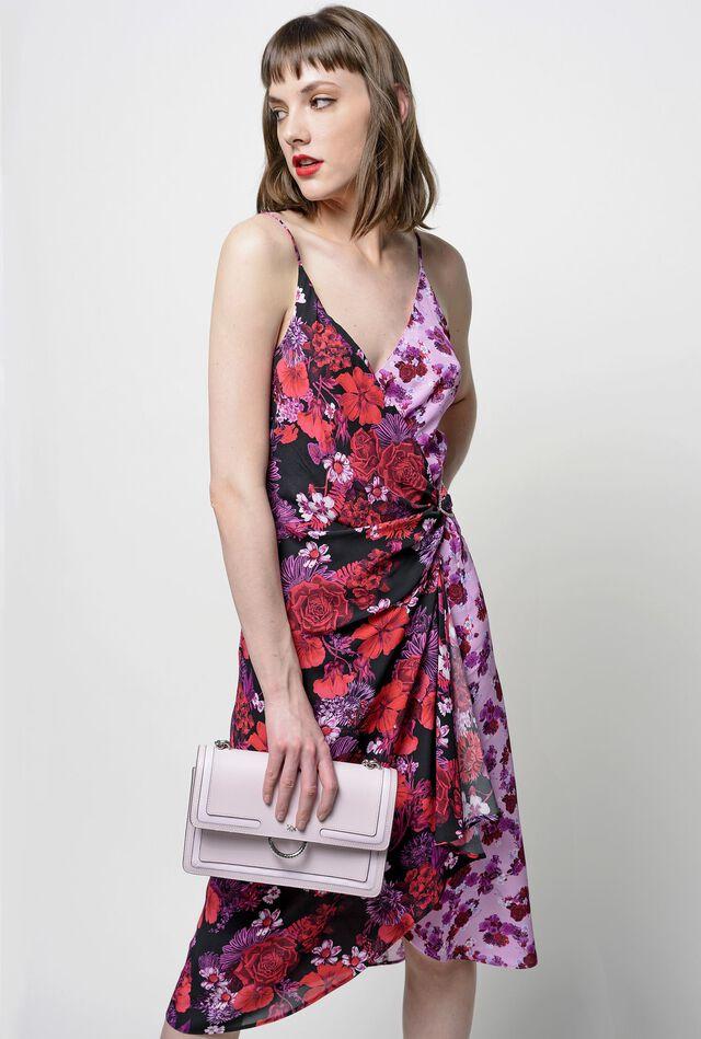cd95f7a0aee Mid-calf dress with micro-flower print