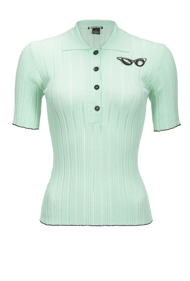 Ribbed polo shirt with embroidery