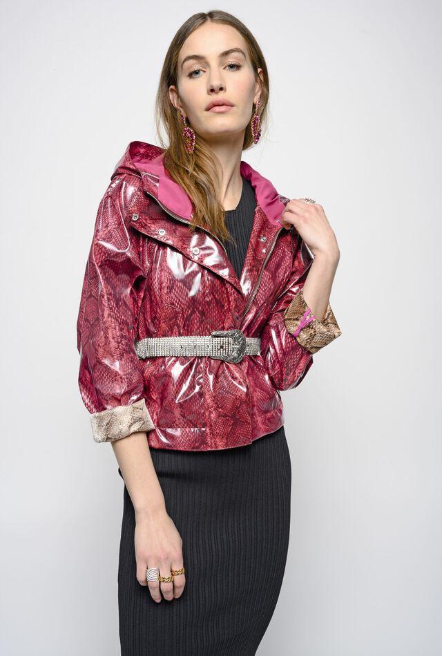 Short raincoat with high-shine coloured snakeskin print