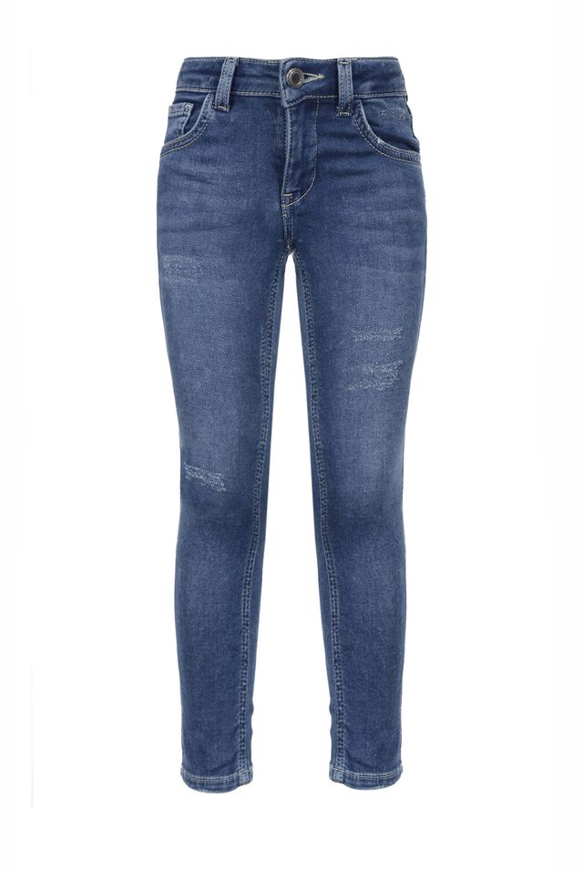 Five-pocket denim-look skinny fleece trousers