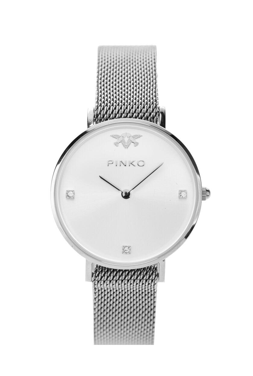 Silvery metallic mesh watch