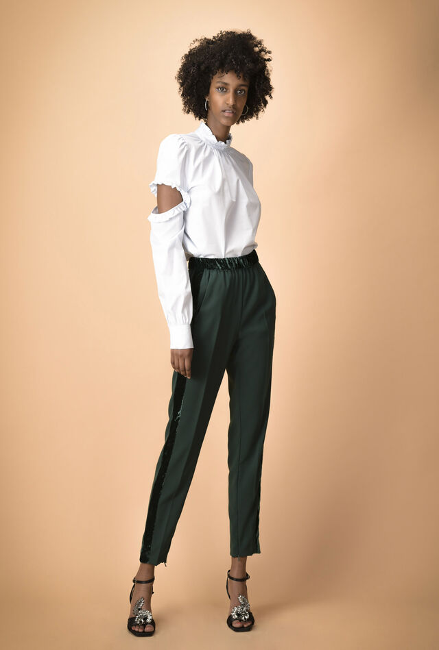 Crêpe trousers with velour bands