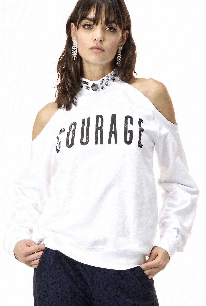 Cotton sweatshirt with jewel appliqués