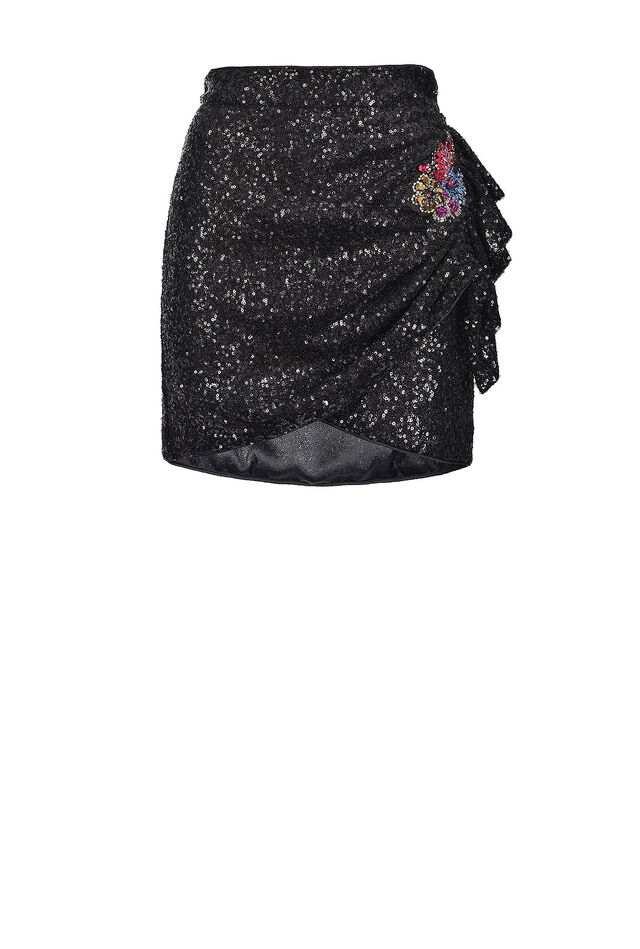 All-over sequin mini skirt with jewel embroidery