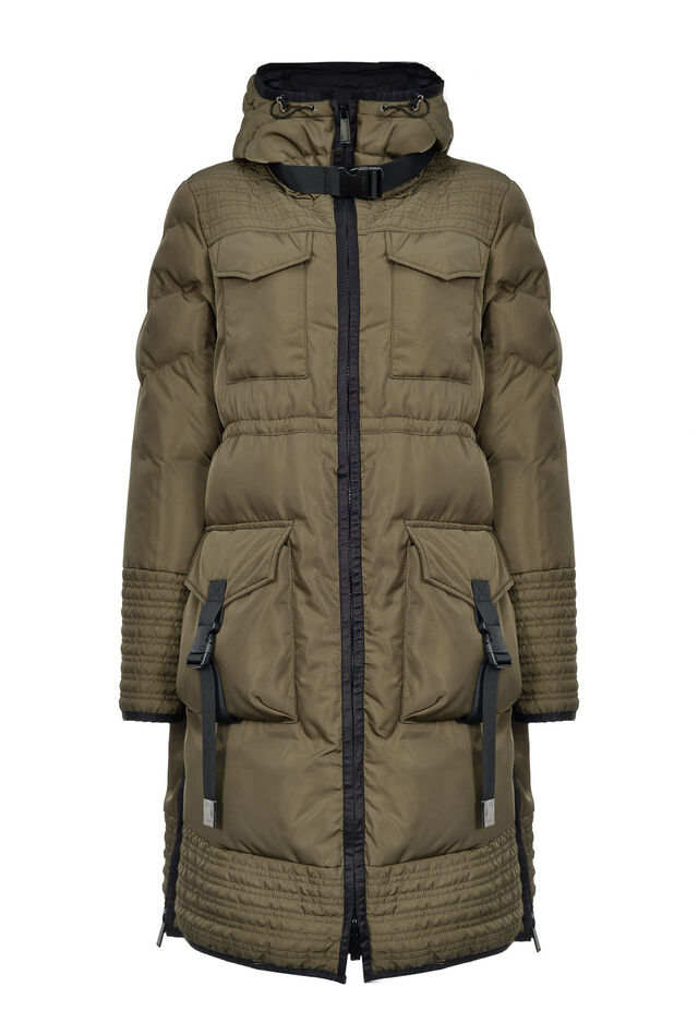 Long technical quilted coat