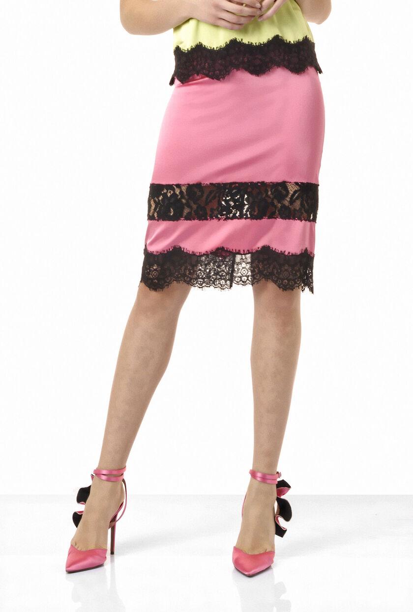 Falda de satén elástico