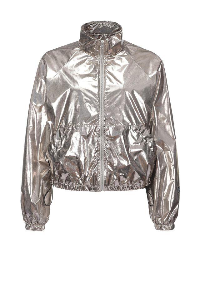 Short raincoat in technical lamé