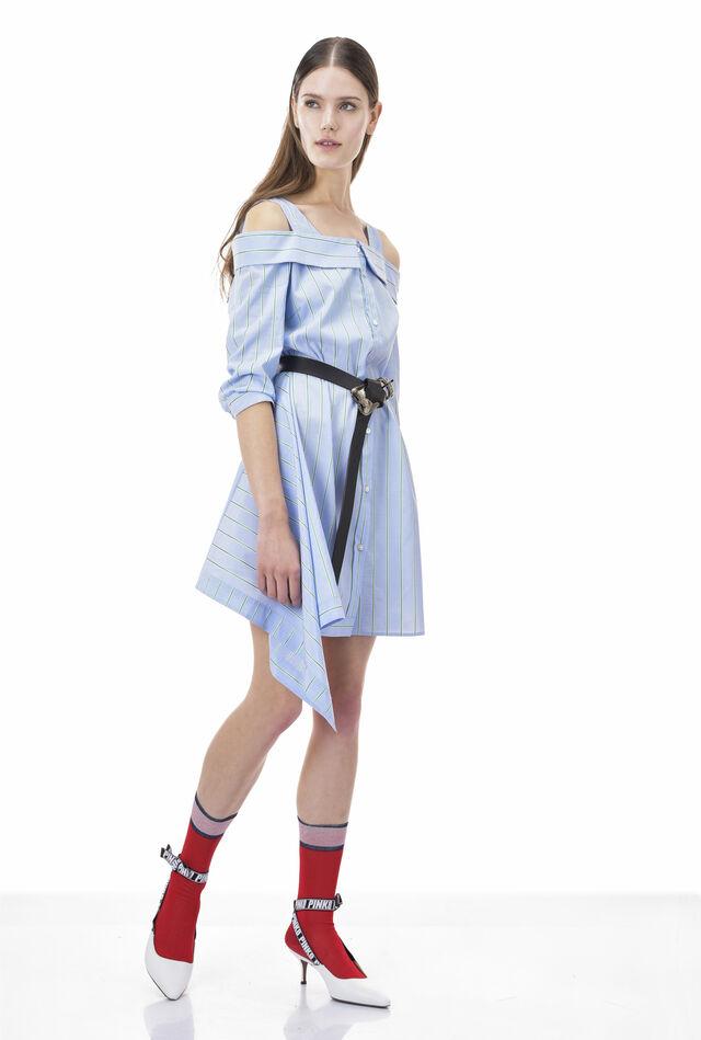 Shirtwaister dress in striped poplin