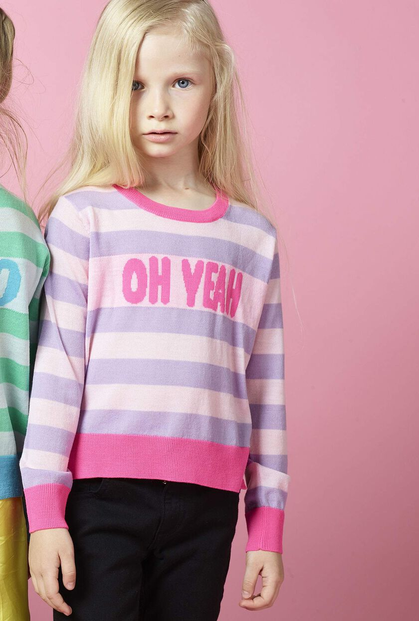Striped jacquard sweater with wording
