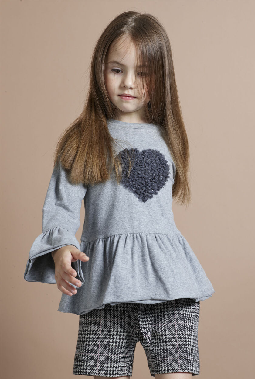 Jersey sweater with ruche heart