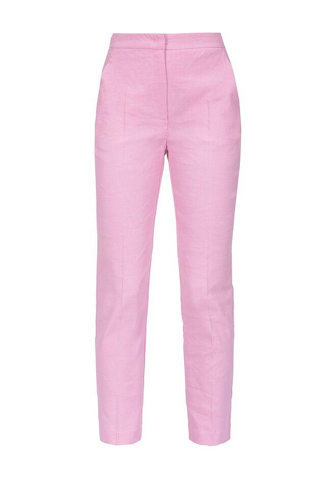 Pantaloni in tela di lino e viscosa