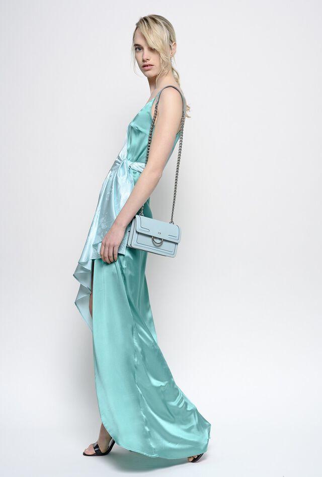 Asymmetrical dress in rose jacquard satin