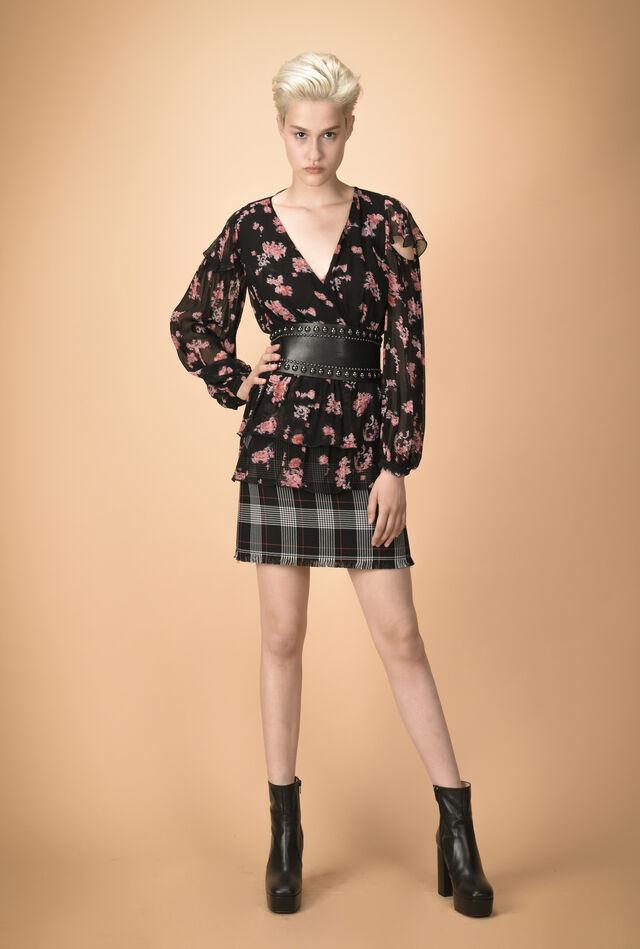 Floral criss-cross creponne blouse