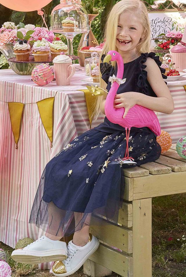 Tulle skirt embroidered with sequins