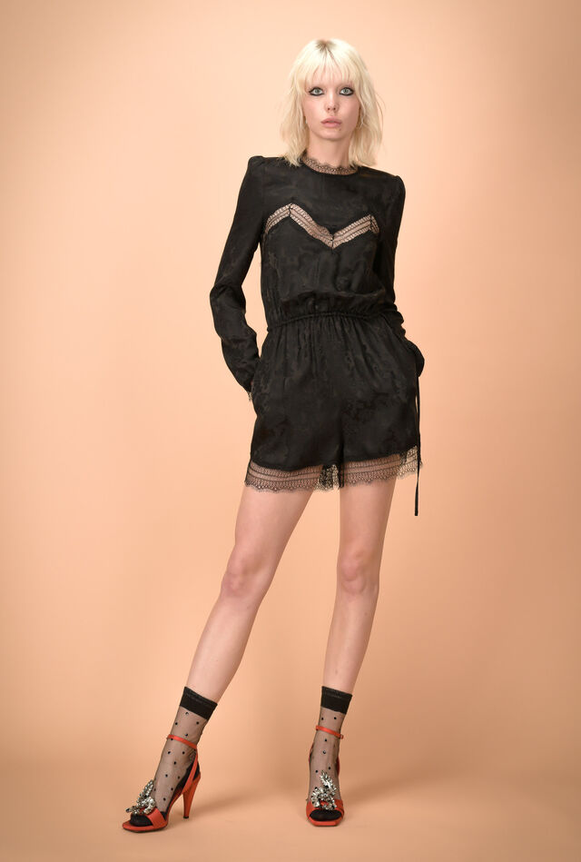 Mini jumpsuit with jacquard decoration and embroidered motifs