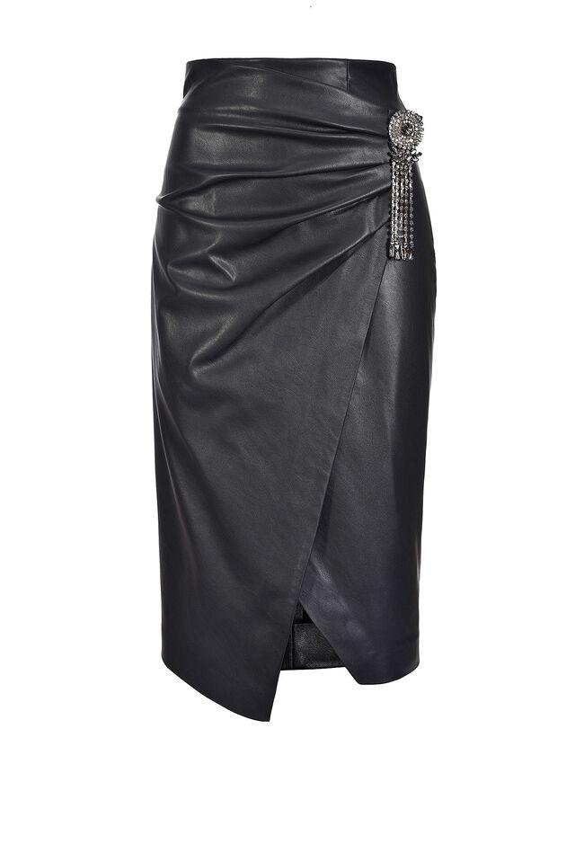 Leather look midi-length skirt
