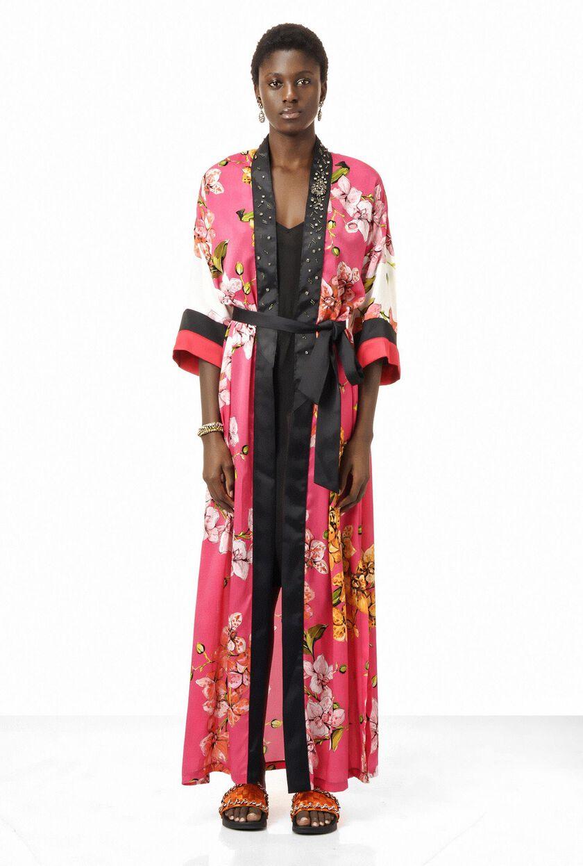 Floral twill kimono