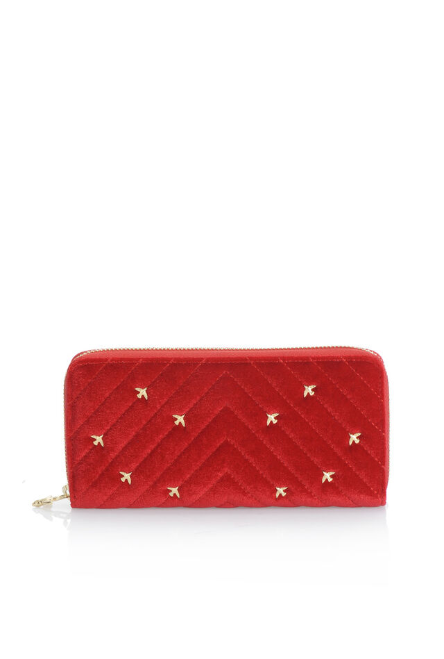 Velvet and quilted leather wallet