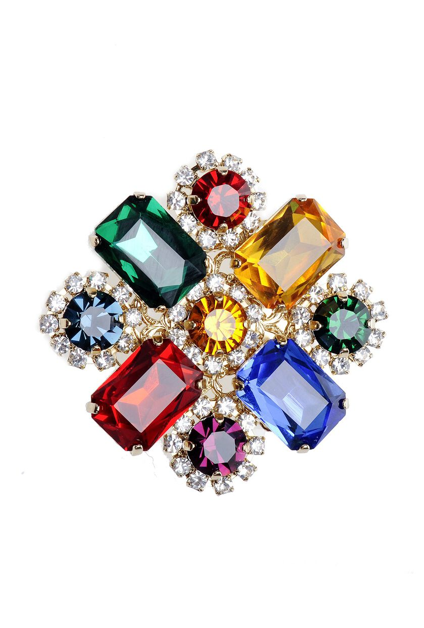 Multi-colour rhinestone brooch