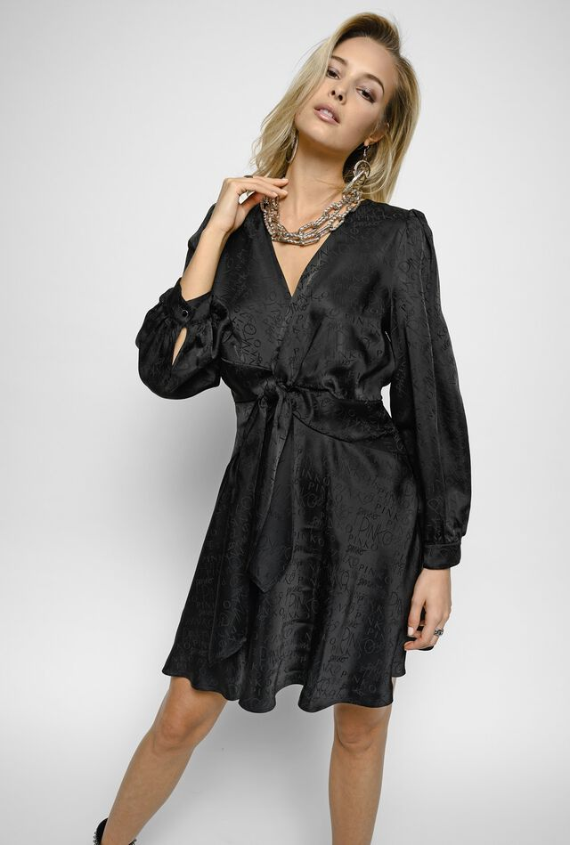 Short dress in jacquard with logo