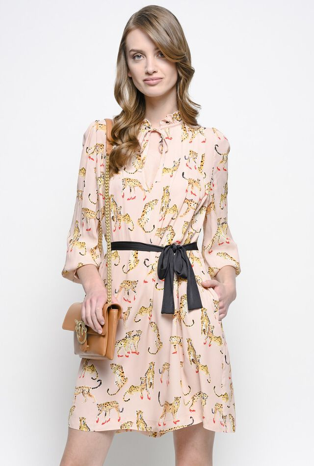 Shirtwaister dress with printed leopards
