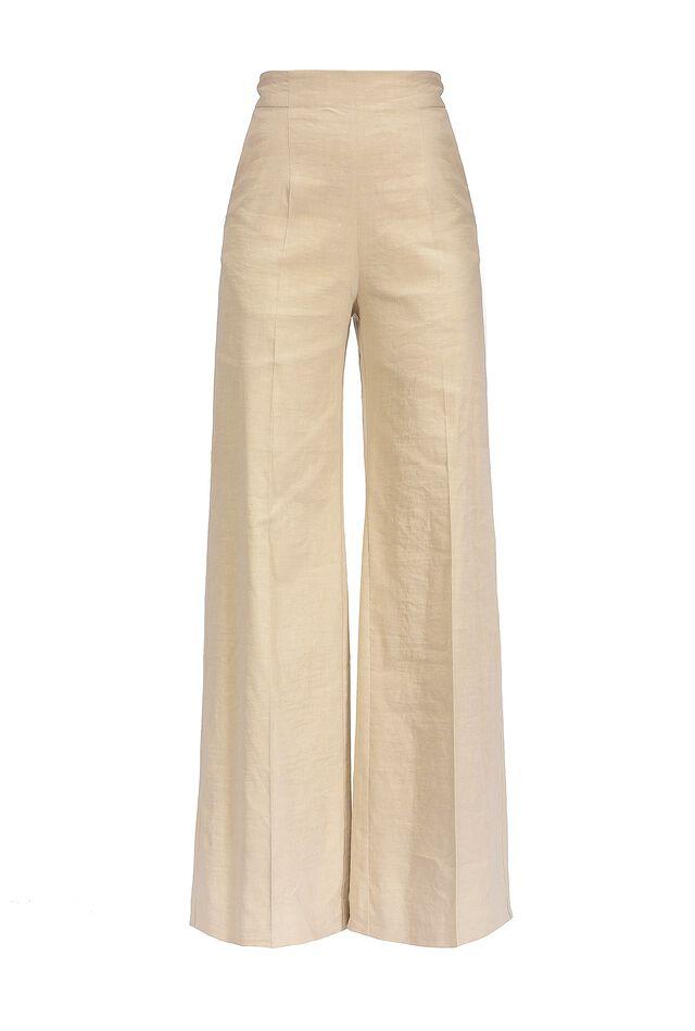 Pantalon ample en toile de lin et viscose