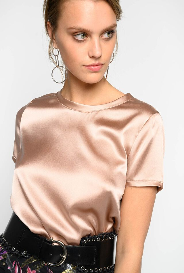 Stretch satin T-shirt