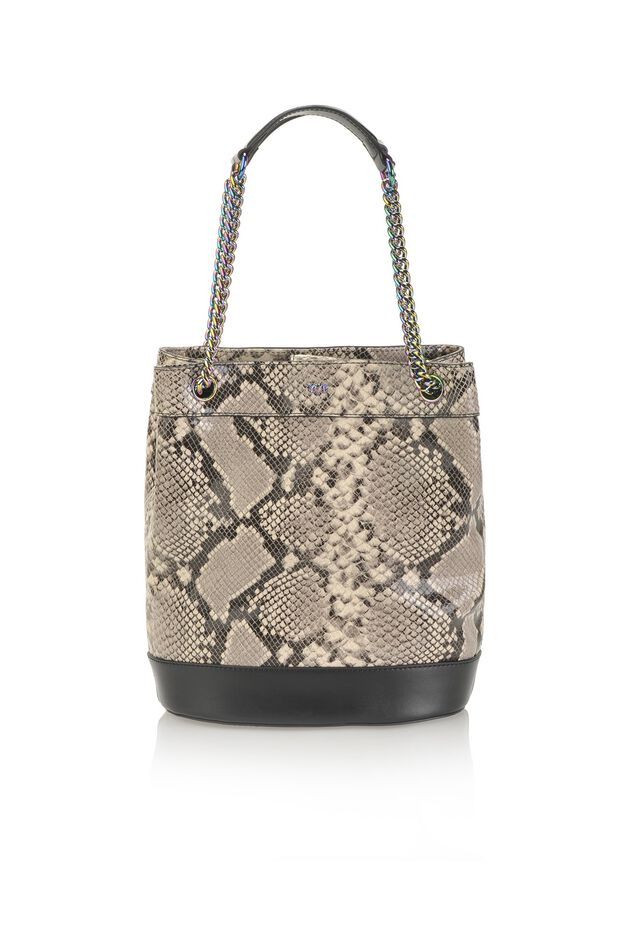Python bucket bag in python print leather with maxi logo