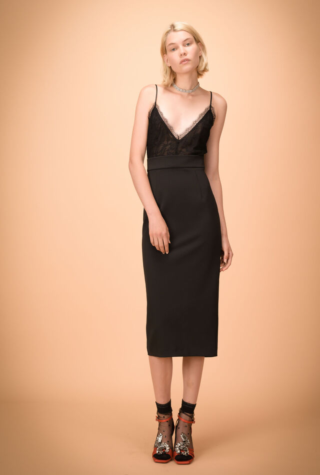 Crepe de chine midi dress with stretch skirt
