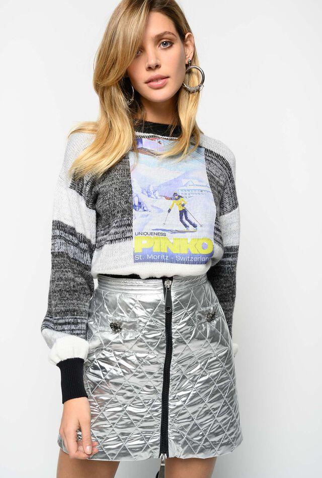 Quilted metallic mini skirt