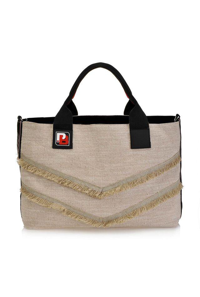 cadaee1de4865 PINKO Bag in denim sfrangiato
