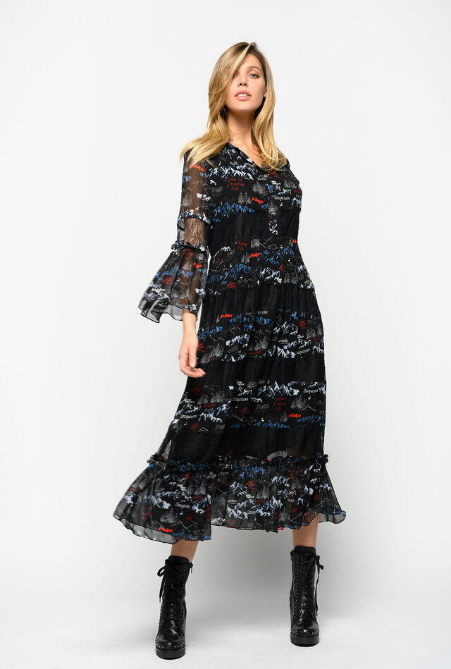 Long dress with mountain print