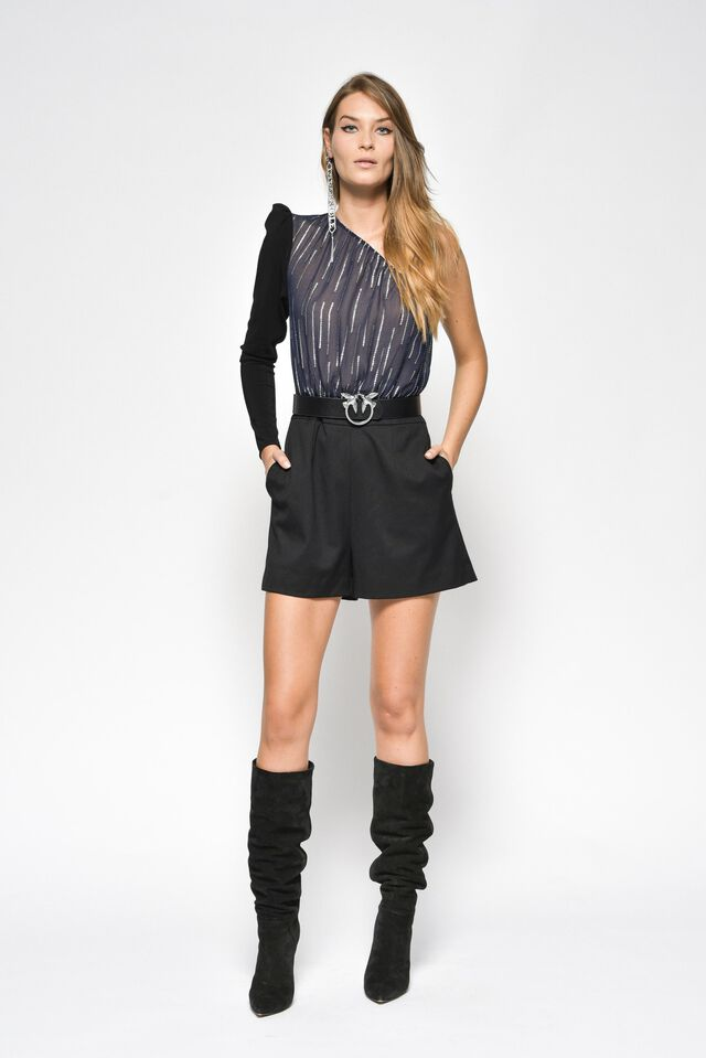 Jumpsuit in technical fabric and silk crepon